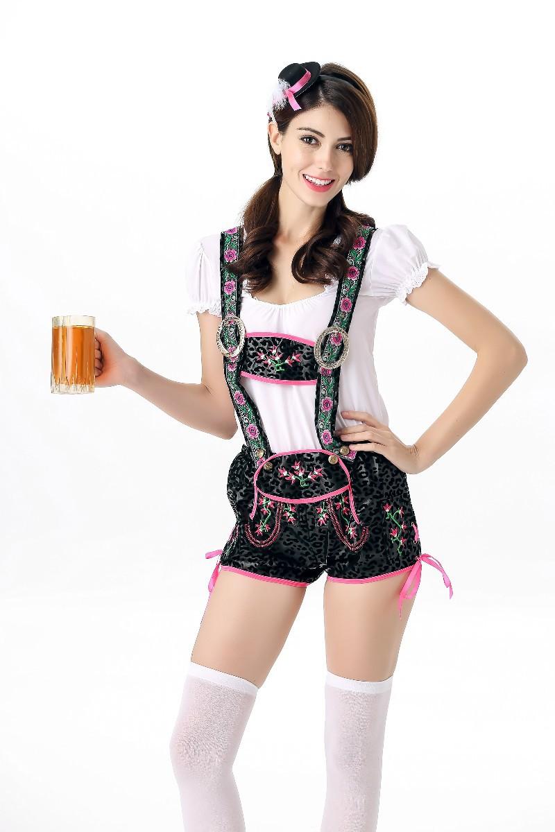 Women Sexy Suspender Pants for Beer Festival Halloween Cosplay Costume black_L