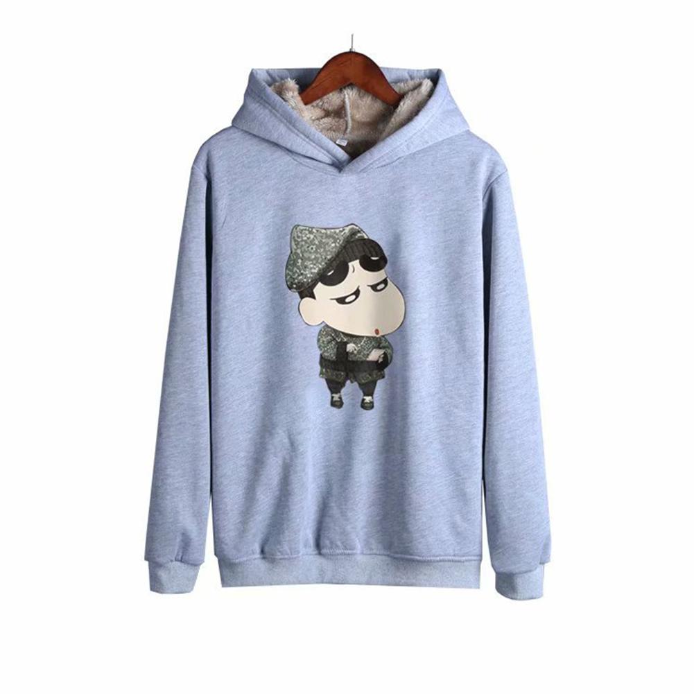 Men Autumn Winter Pullover Hooded Sweater Loose Long Sleeve Fleece Line Tops Hoodie 4#_XXXL