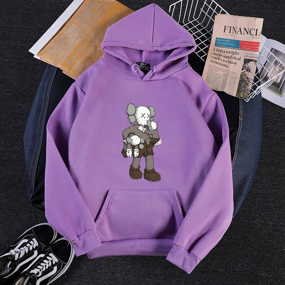 KAWS Men Women Hoodie Sweatshirt Climbing Doll Cartoon Thicken Autumn Winter Loose Pullover Purple_XXL