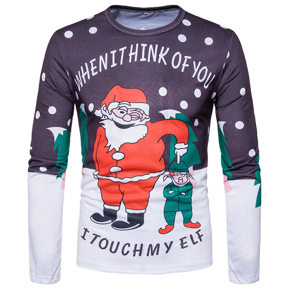 Christmas Casual Printing Long Sleeve Santa Claus and Little Man T-shirt Male Clothes Photo Color_2XL