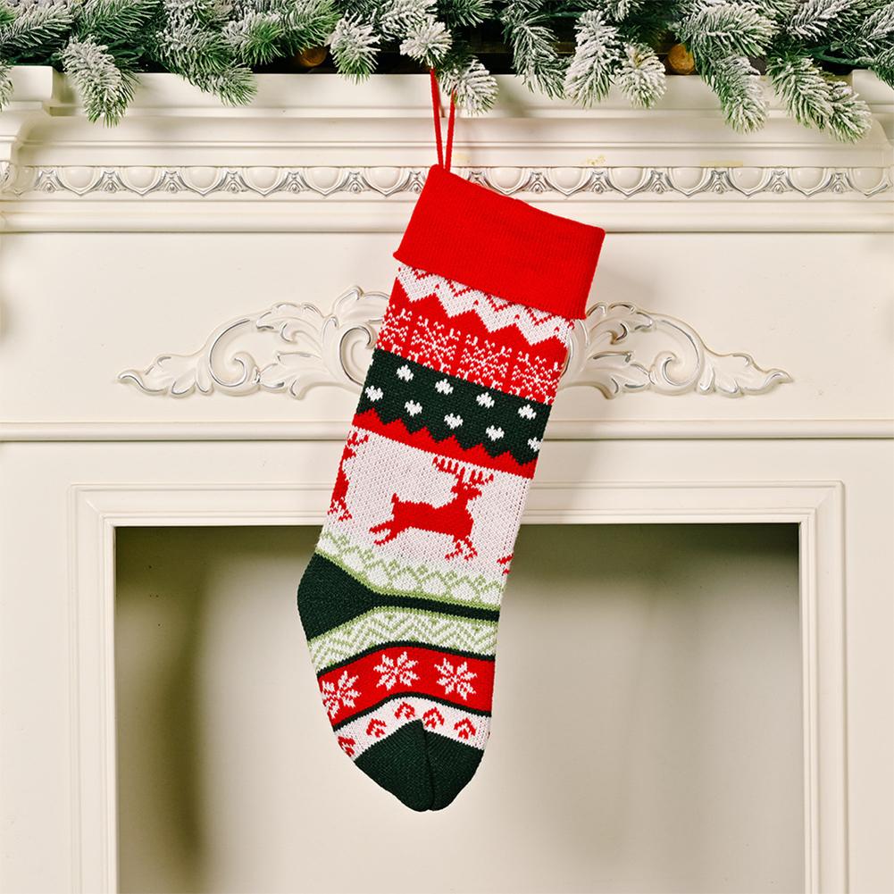 Christmas Stocking Knitted Christmas Decoration Christmas Gift Children's Holiday Gift Bag