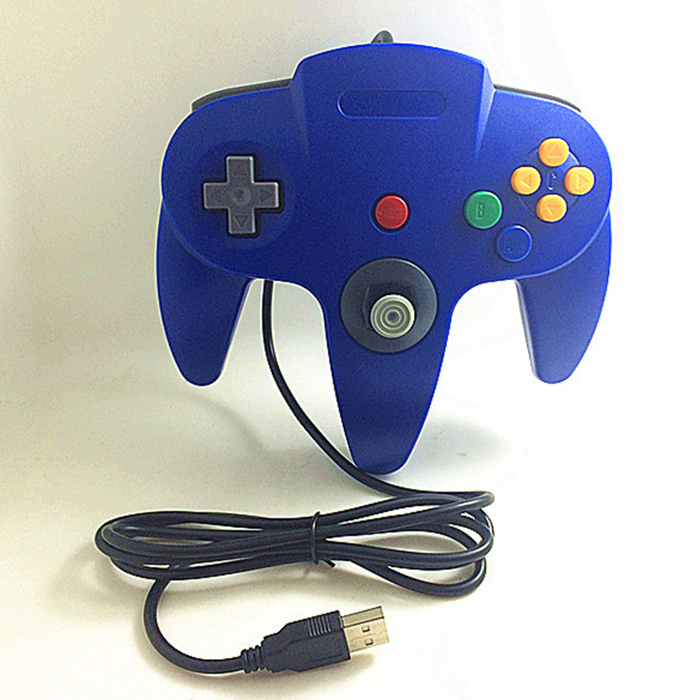N64 USB N64 ABS Gamepad Controller Joystick PC Computer Game Handle blue
