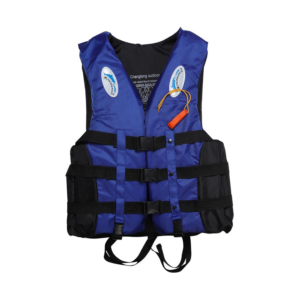 S-3XL Adult Life Jacket Lifesaving Swimming Boating Sailing Vest + Whistle Blue S