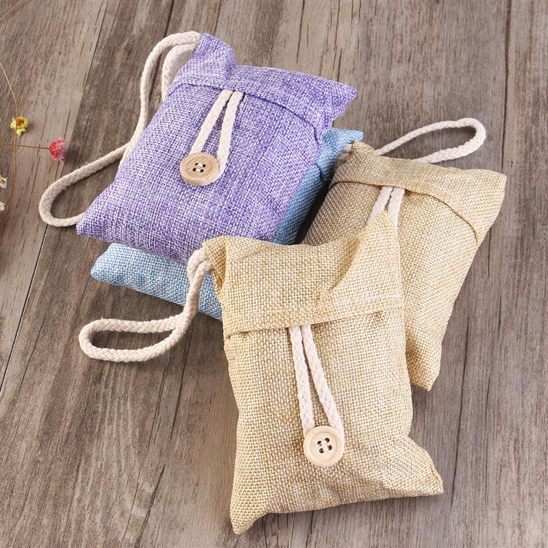 Cute Bamboo Charcoal Bag with Hanging String & Button Air Purifier for Car House Cabinet Odor Absorber (Random Colour)