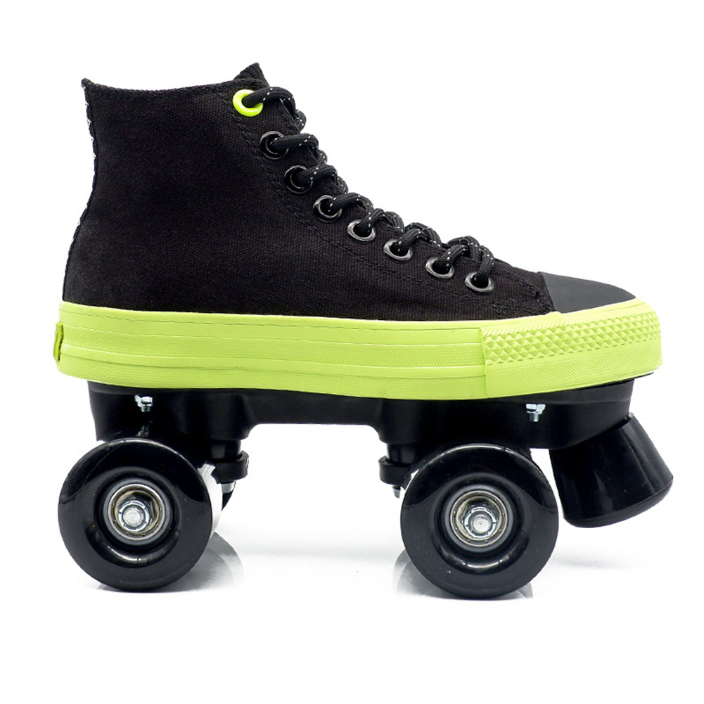 1pair Roller  Skates  Shoes For Beginner Two Line Canvas Sliding Sneakers With 4 Wheels Black + black non-flashing wheel_37