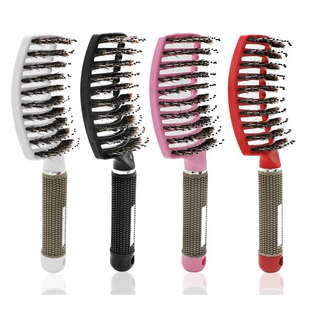 Curved Comb Massage Comb for Curly Hair Ribs Comb Red_With hair type