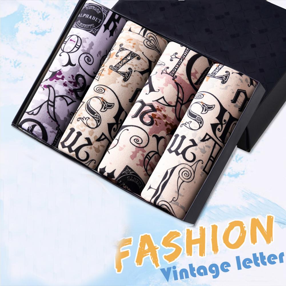 4pcs/set Man Underwear Box-packed Fashion Breathable Colorful Boxers retro letters_XXL