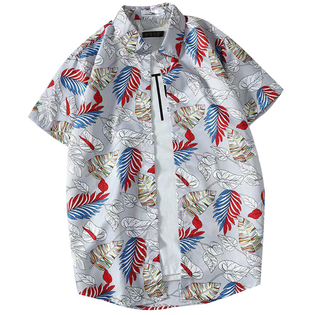 Men Women Printing Shirts Short Sleeve Floral Casual Blouse 8867 gray_L