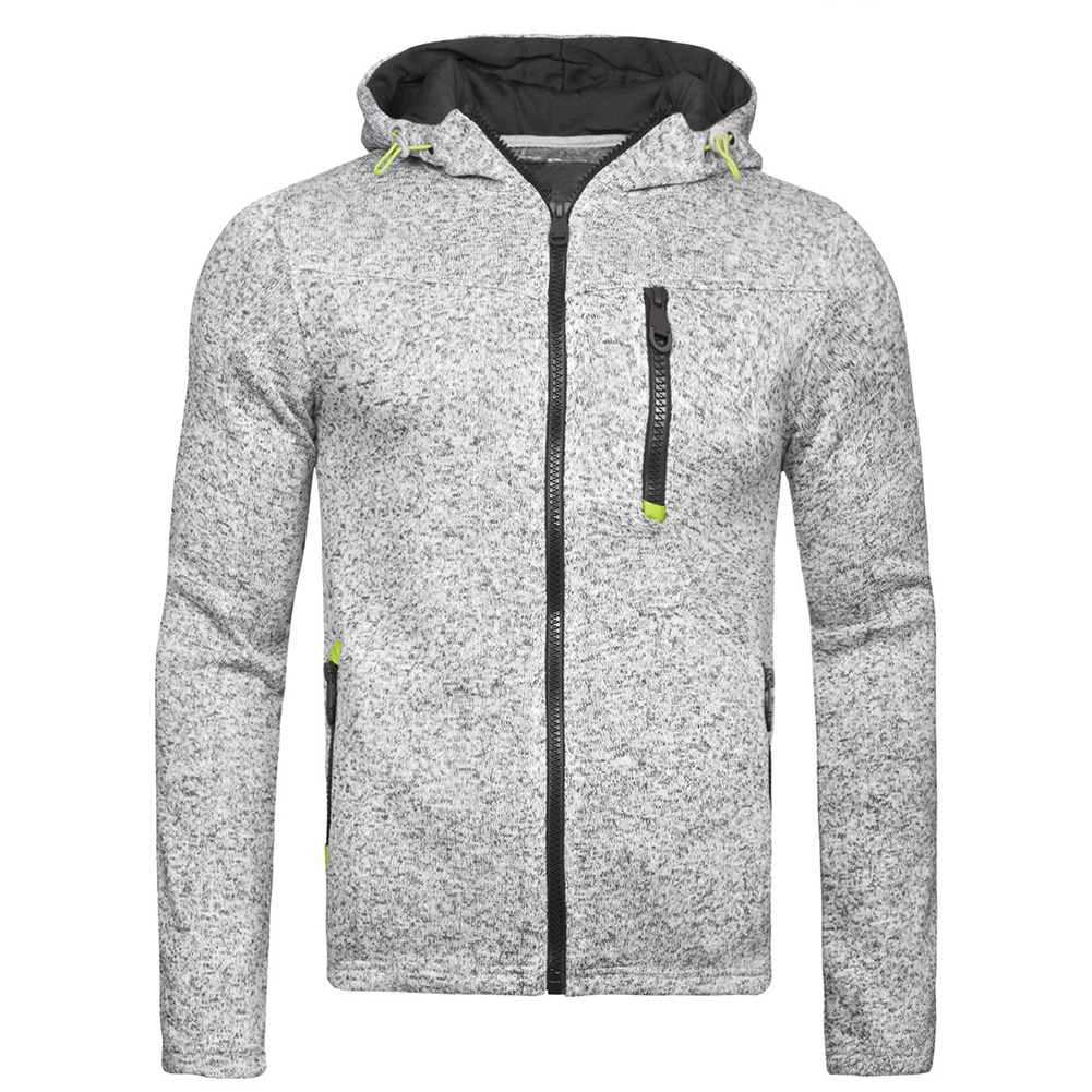 Men Fleece Hooded Tops Zipper Closure Fitness Hoodies Solid Color Sweatshirts Coat gray_XL