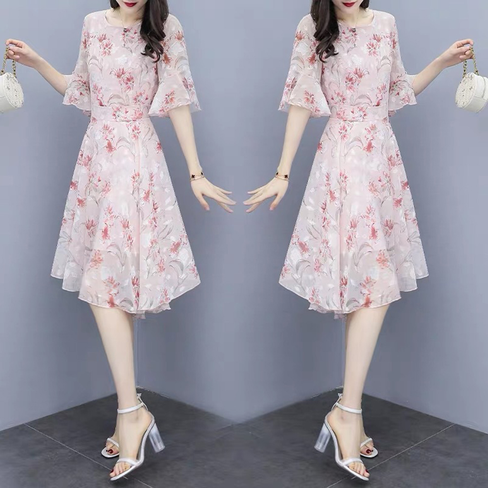 Women Floral Chiffon Dress V-collar Loose Waist Medium Fashion Dress Pink_3XL