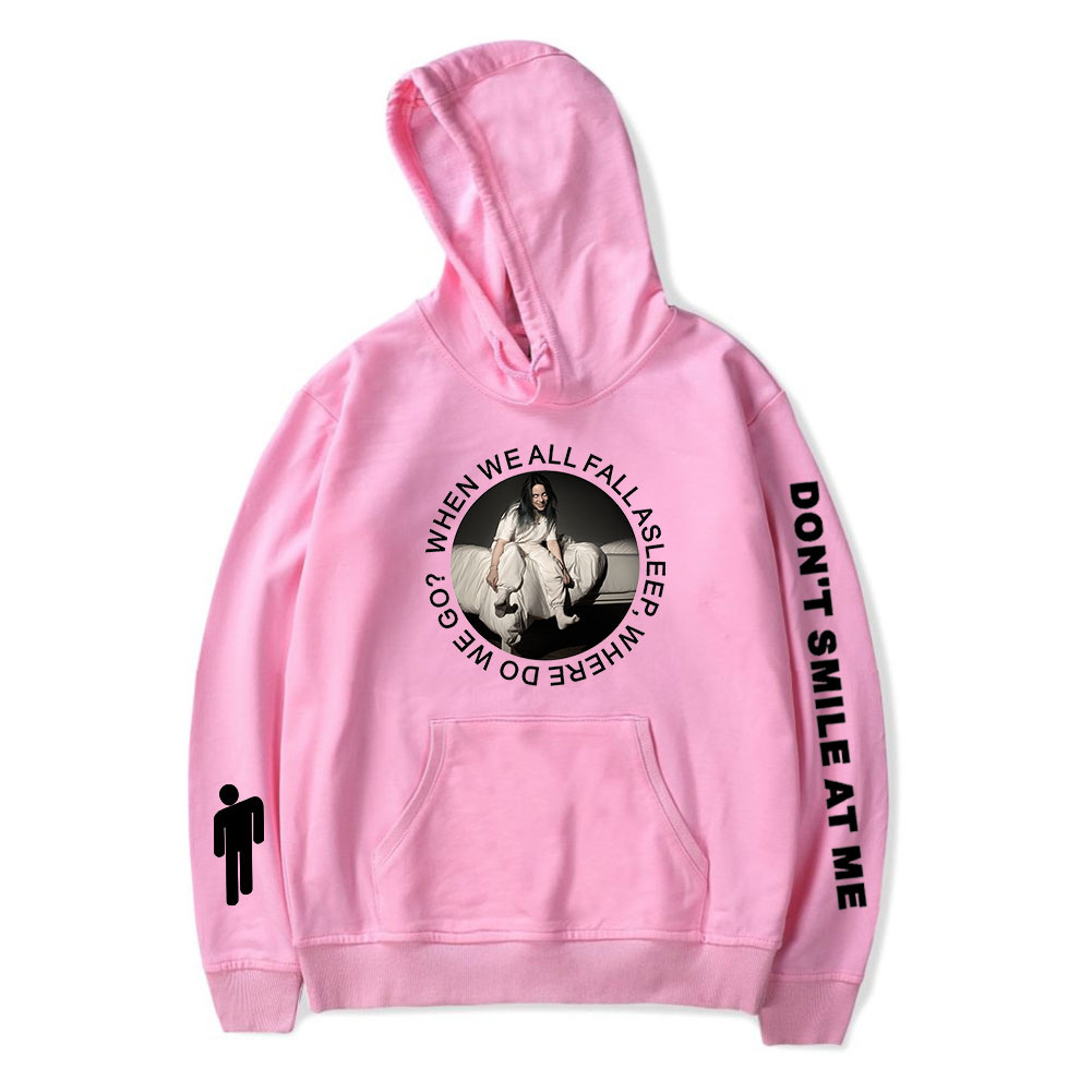 Stylish Casual Cartoon Pattern Printing Billie Eilish Hoodie Sweatshirt for Men Women  A pink_XS