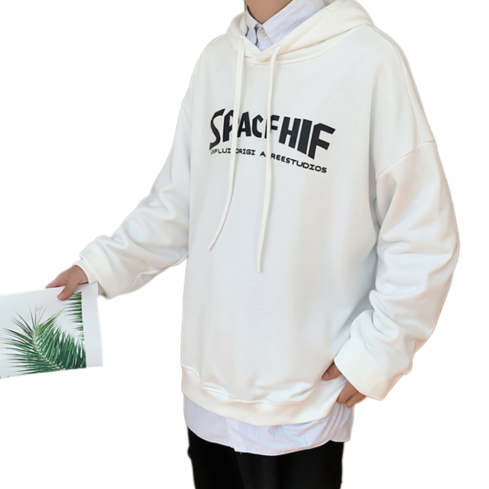 Men Women Hoodie Sweatshirt Printing Letter Fashion Loose Autumn Winter Pullover Tops White_L