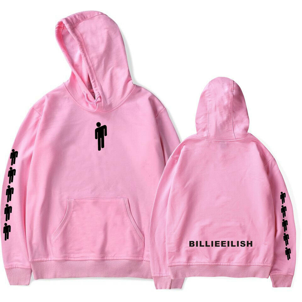 Men Women Fashion Casual Cartoon Pattern Printing Billie Eilish Hoodie Pullover pink_XS
