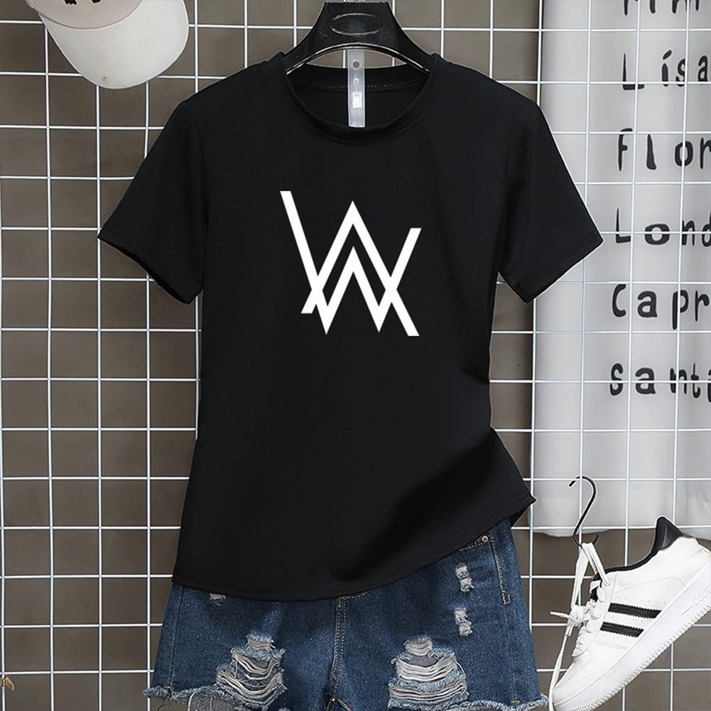 Men Women Couple Fashion Letter Printing Round Neck Short Sleeve T-Shirt  black_L