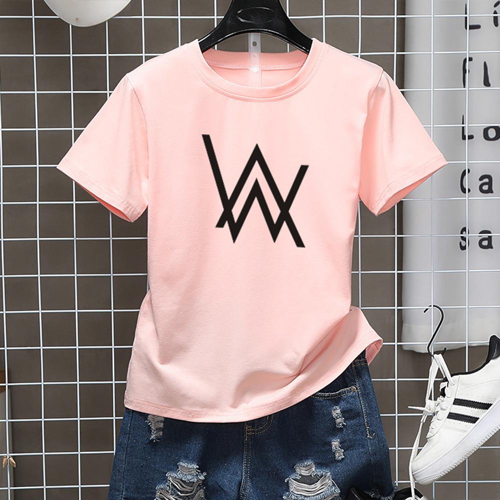 Men Women Couple Fashion Letter Printing Round Neck Short Sleeve T-Shirt  pink_M