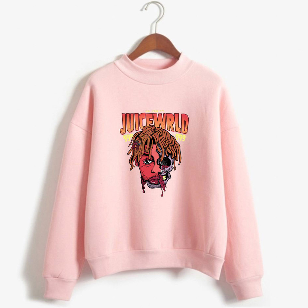 Men Women Couple Fashion Printed Fashion Casual Turtleneck Sweater Tops 5#_S