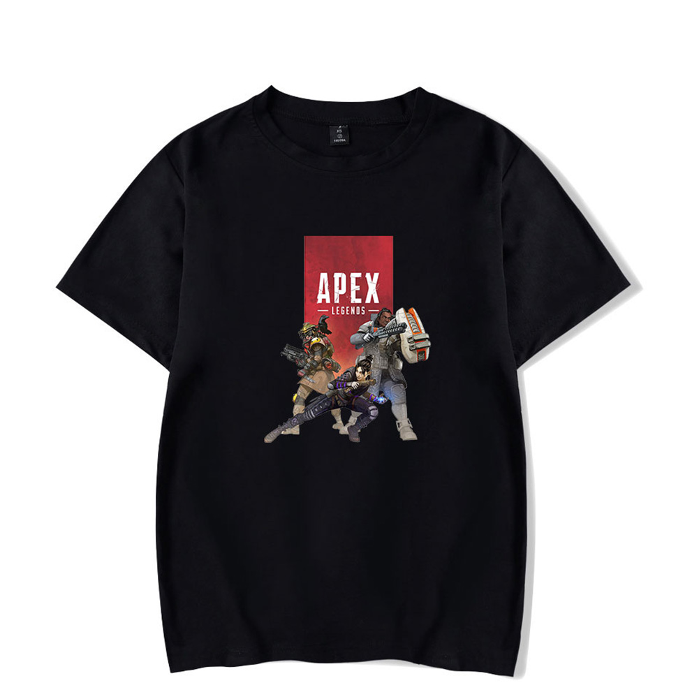 Loose Apex Legends Series Pattern Round Collar Short Sleeve T-shirt  Black 1_L