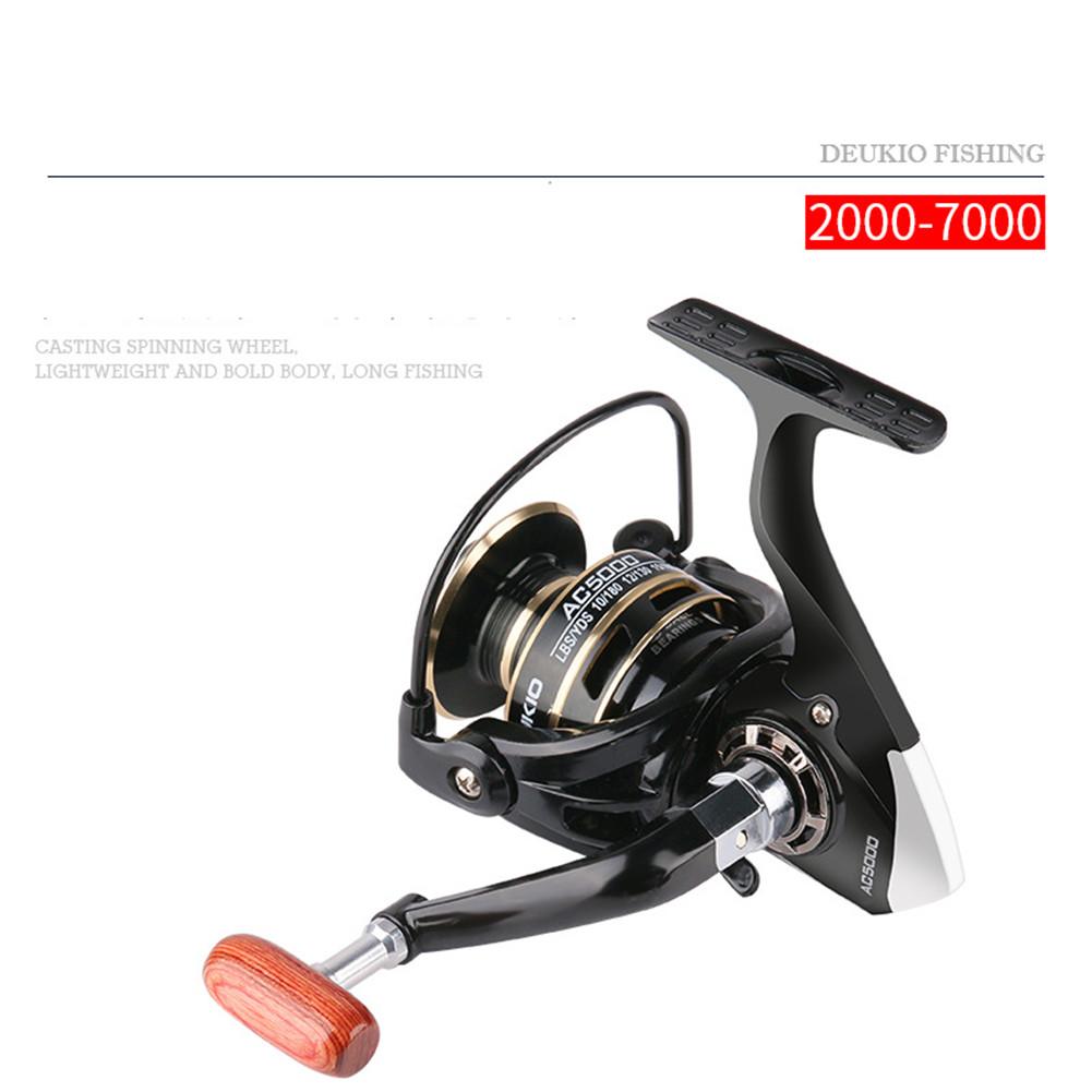 Fishing Reel Folding Rocker Arm Sea Fishing Rod Spinning Wheel Fishing Accessories AC7000(Wooden handle)