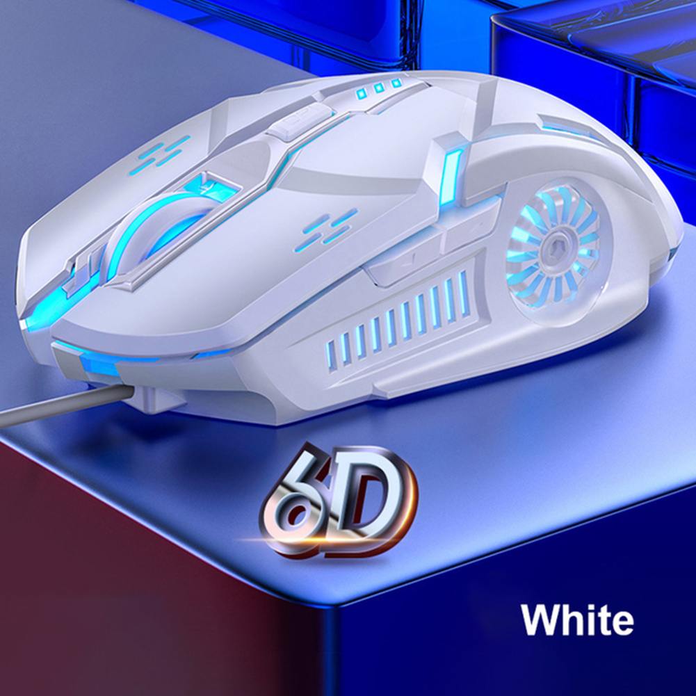 G5 Wired Gaming Mouse Colorful Backlight 6 Button Silent Mouse 4-speed 3200 DPI RGB Gaming Mouse White audio version