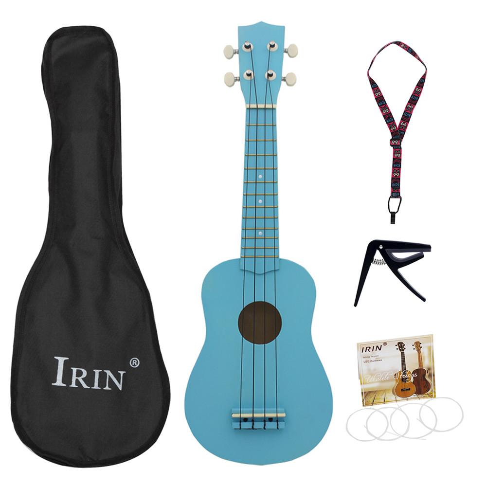 21inch Ukulele Basswood Acoustic Ukelele+Bag+Strap+String+Capo  Hawaii Guitar Musical Instrument Kit for Beginner blue