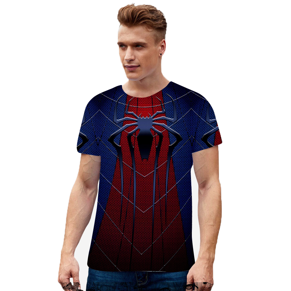 Fashion Cool Spiderman 3D Printing Summer Casual Short Sleeve T-shirt for Men Women X_S