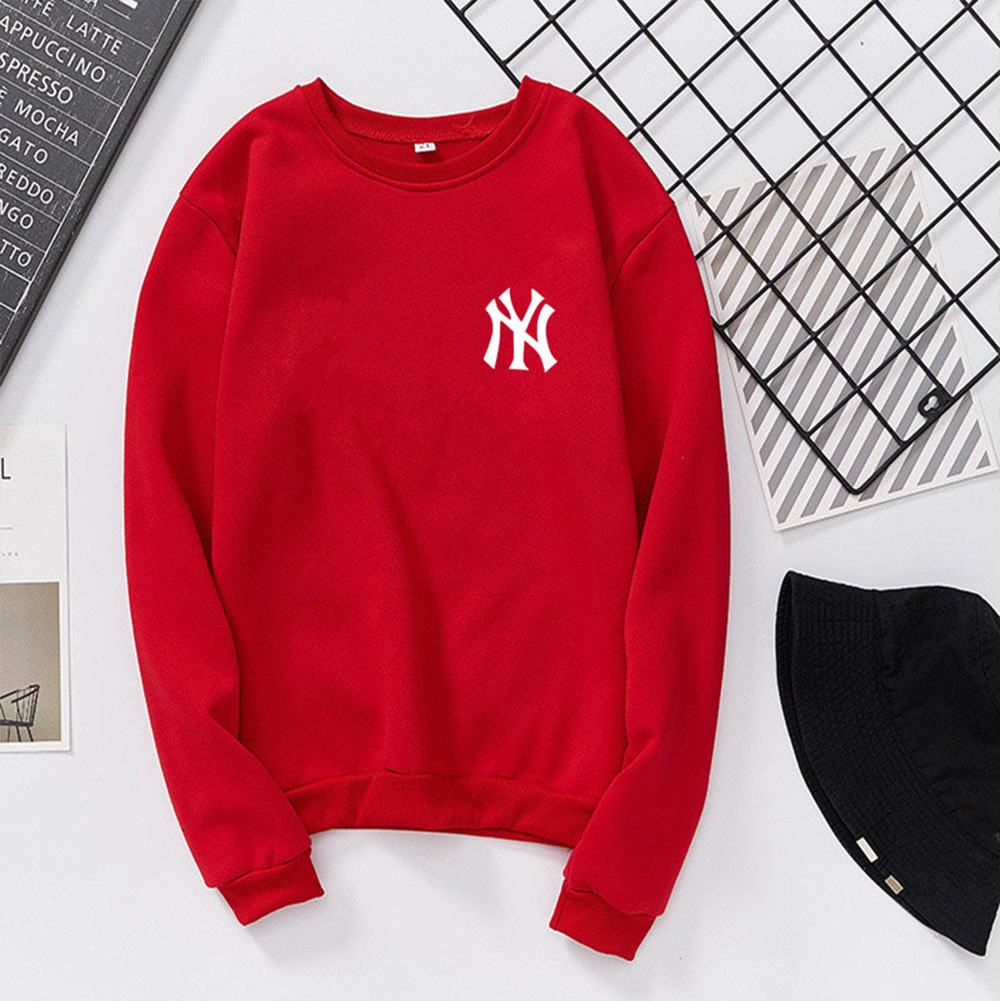 Men Women Lovers Fashion Round Collar Fleece Loose Hooded Sweatshirts Coat red_2XL