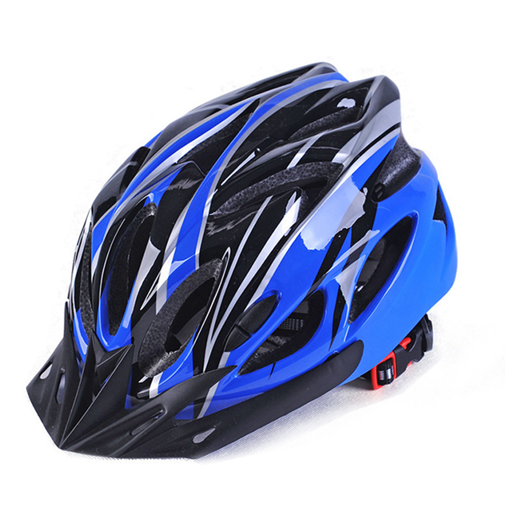 Men and Women Cycling Helmet Integrally-molded for Mountain Road and Sports Blue black_One size