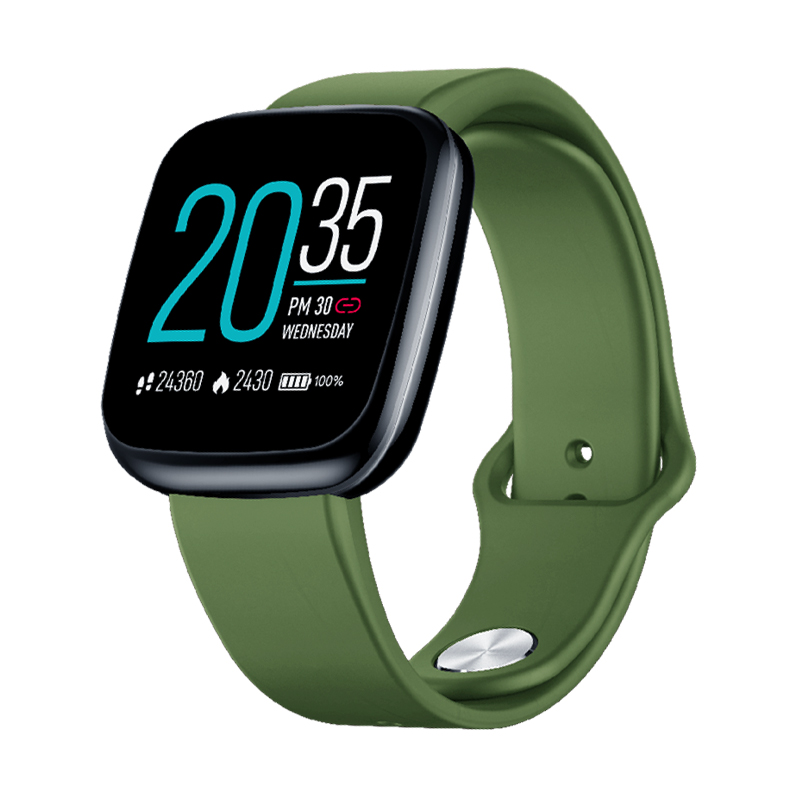 Smart Watch Silicone Full Touch Color Screen Heart Rate Blood Pressure Monitoring Smart Watch green