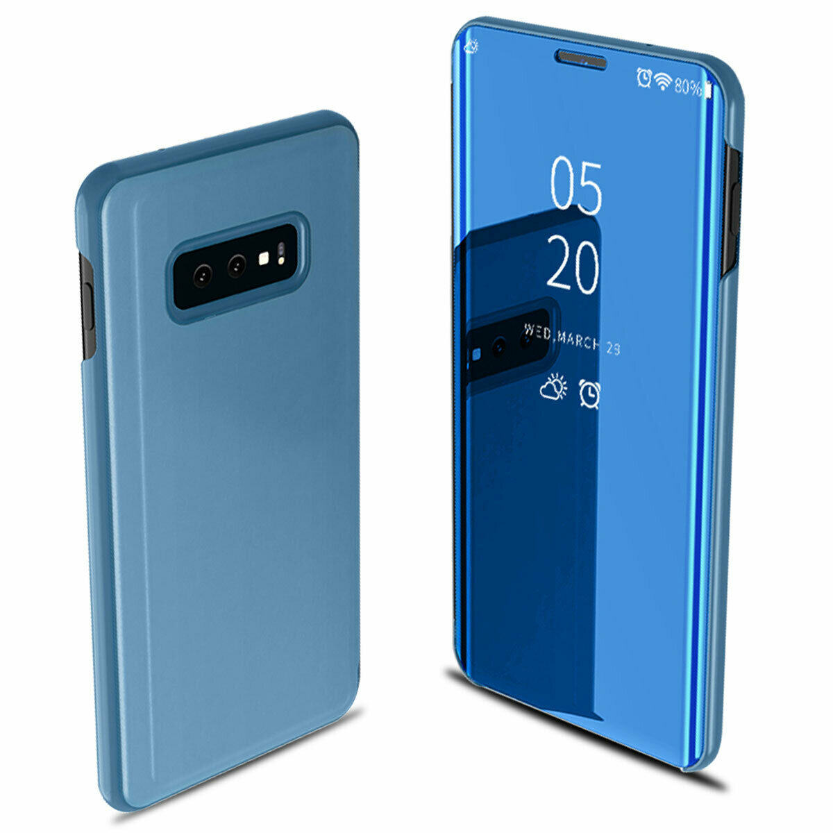 For Samsung Galaxy S10/S10 Plus/S10E Smart Leather Flip Mirror 360 Phone Case Cover blue