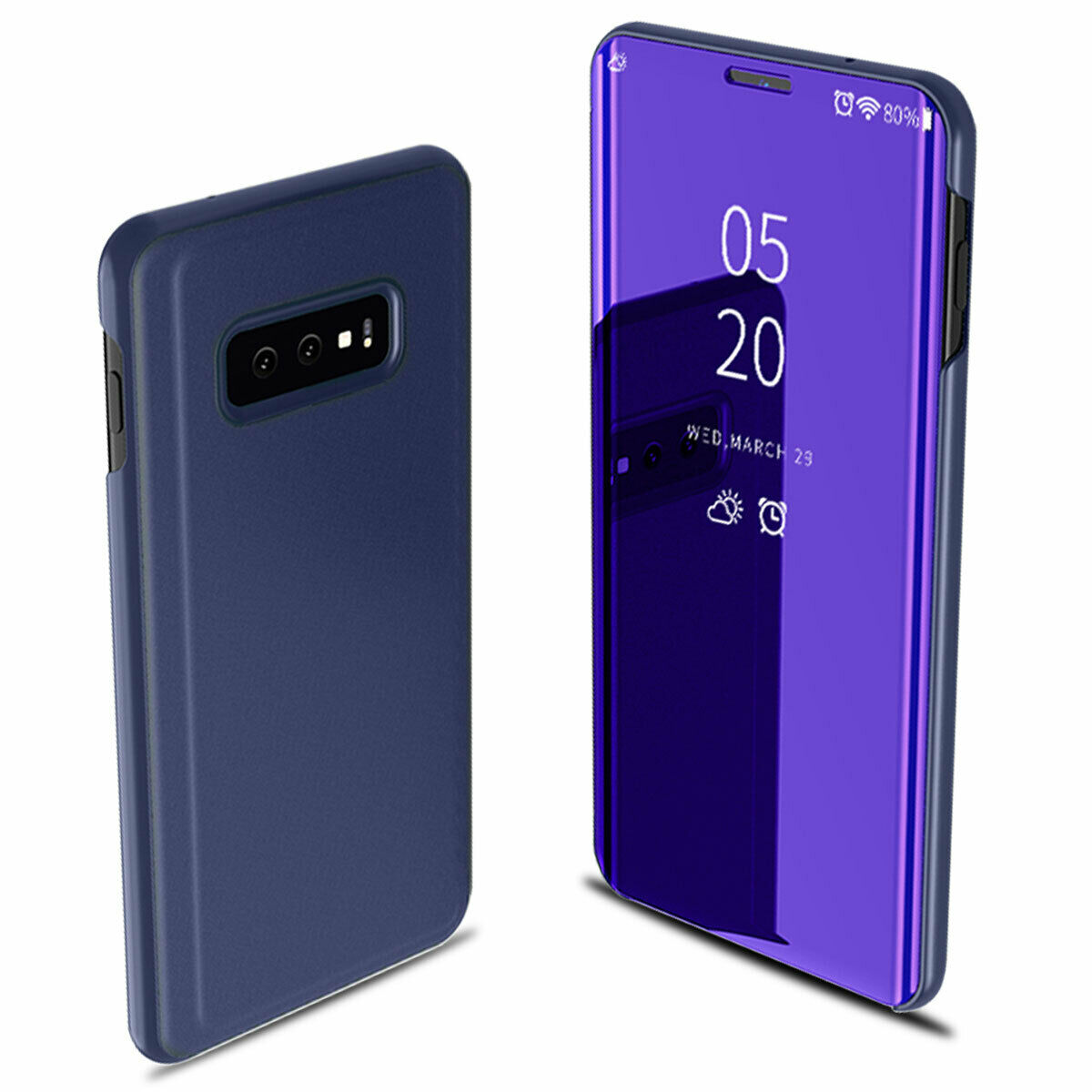 For Samsung Galaxy S10/S10 Plus/S10E Smart Leather Flip Mirror 360 Phone Case Cover Violet blue