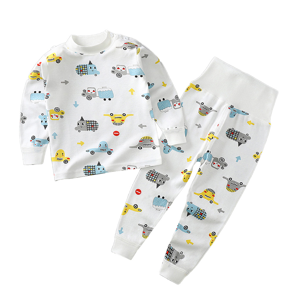2 Pcs/set Children's Underwear Set Cotton Long-sleeve Top + High-waist Belly-protecting Pants for 0-4 Years Old Kids White _100