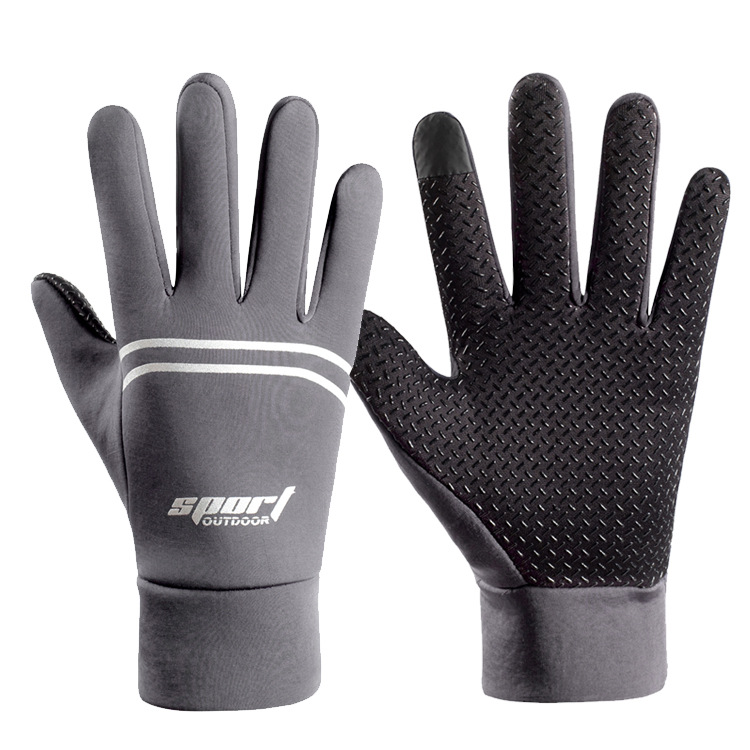 Men Women Waterproof Gloves Fleece Outdoor Sports Mountaineering Cycling Skiing Nonslip Autumn Winter Gloves gray_One size