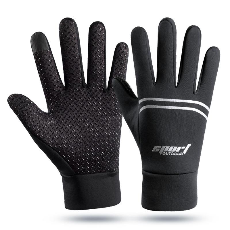 Men Women Waterproof Gloves Fleece Outdoor Sports Mountaineering Cycling Skiing Nonslip Autumn Winter Gloves black_One size