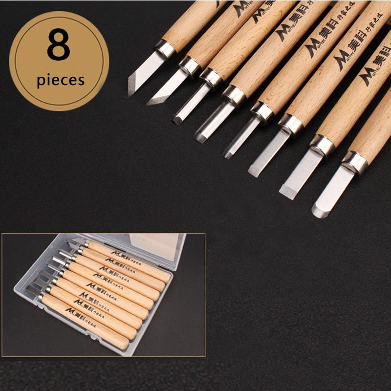 1 Set Wood Carving Chisels Knife Basic Cut Detailed Woodworking Gouges DIY Hand Tools 8 Pcs/box