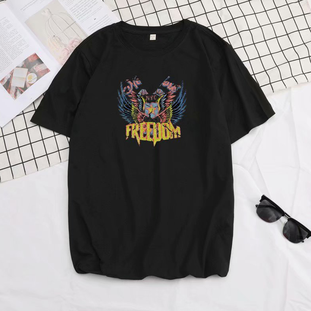 Short Sleeves and Round Neck Shirt Leisure Pullover Top with Unique Pattern Decorated 699 black_M