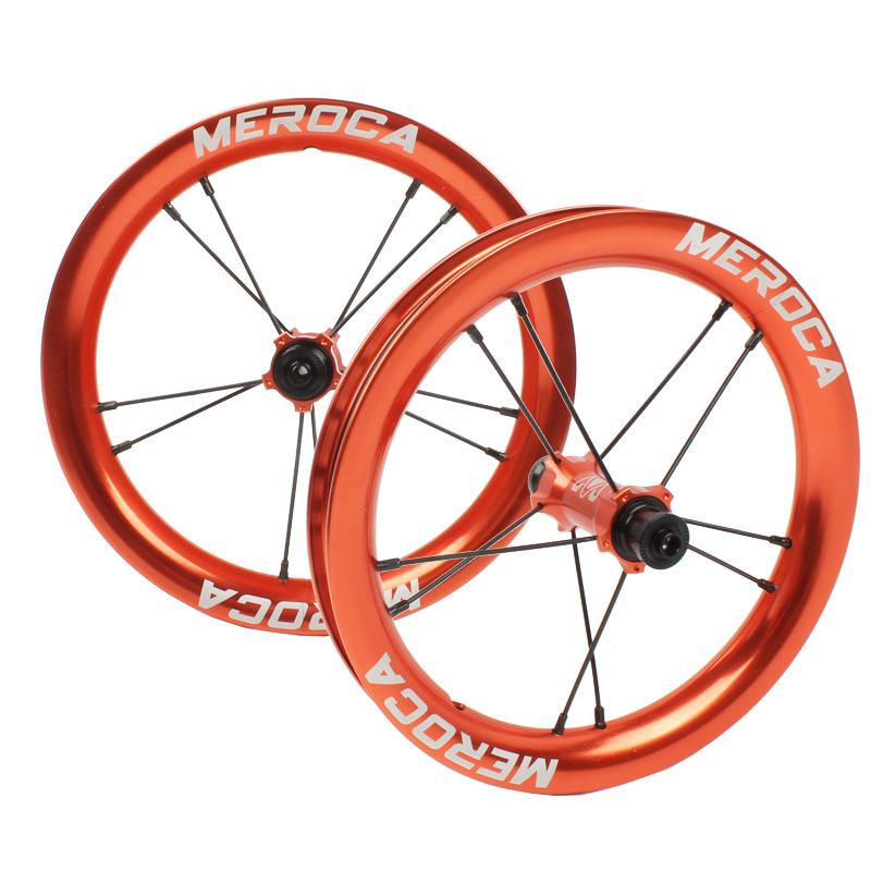 MEROCA Sliding Bike Wheel Set 12 inch wheelset K Bike S Balance Bicycle Modification High Rim circle 2 Bearing Palin Wheels Orange
