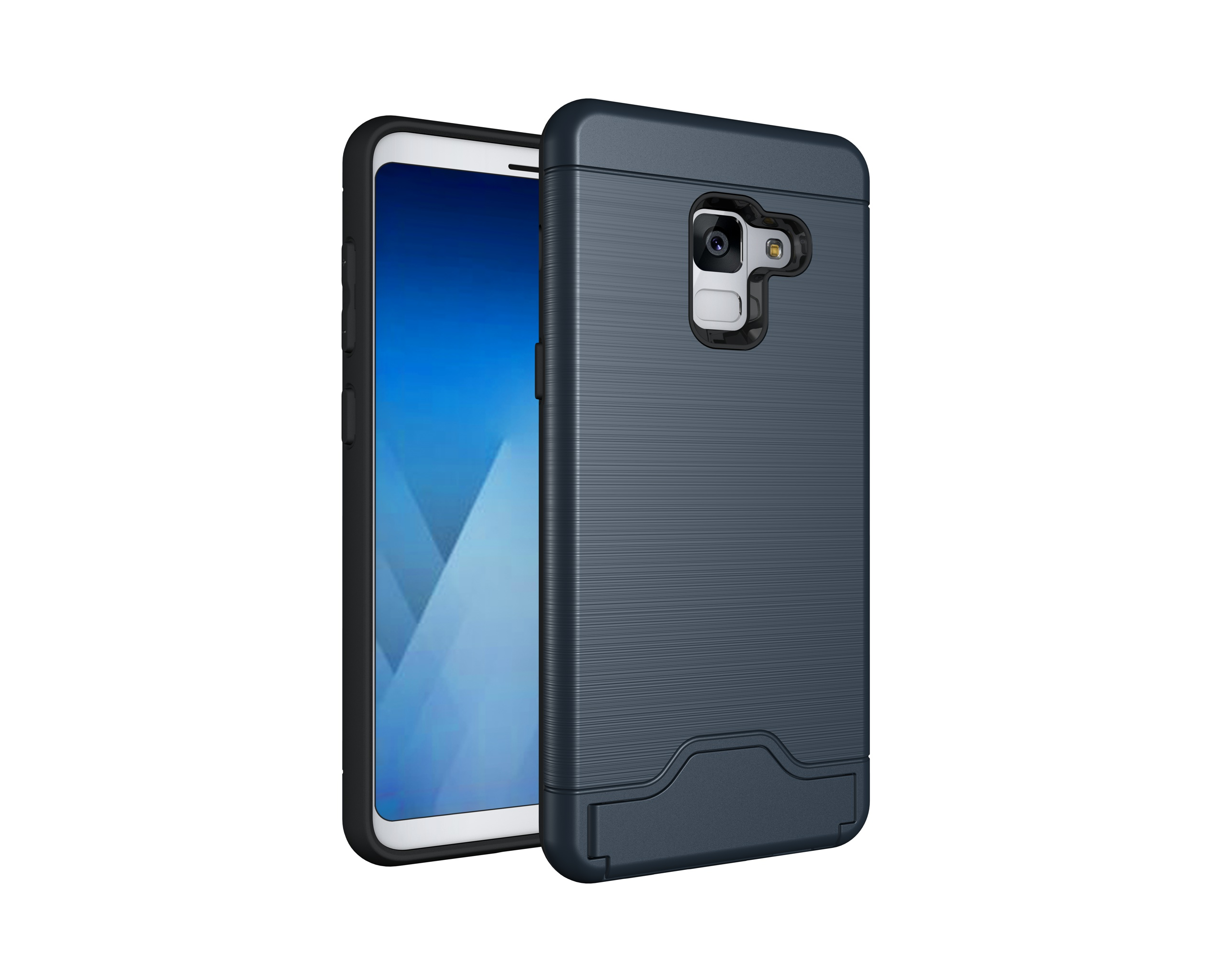 Exquisite 2-in-1 Phone Case Protective Cover with Card Holder for Samsung A8/A8 Plus