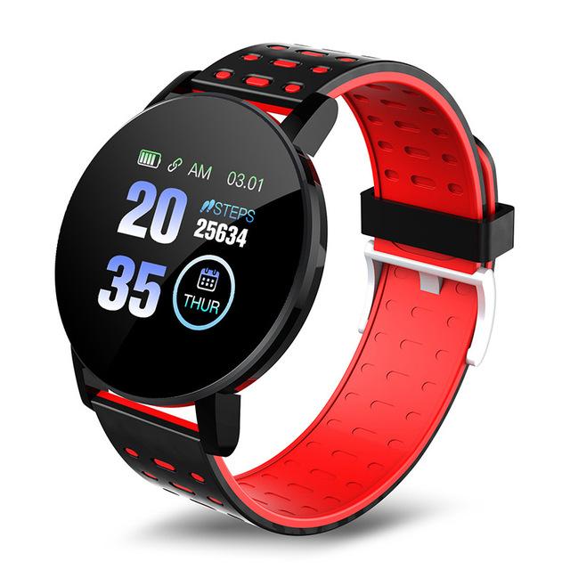 Smart Band Watch Bracelet Wristband Fitness Tracker IP67 Waterproof Smart Bracelet Heart Rate Blood Detection Red