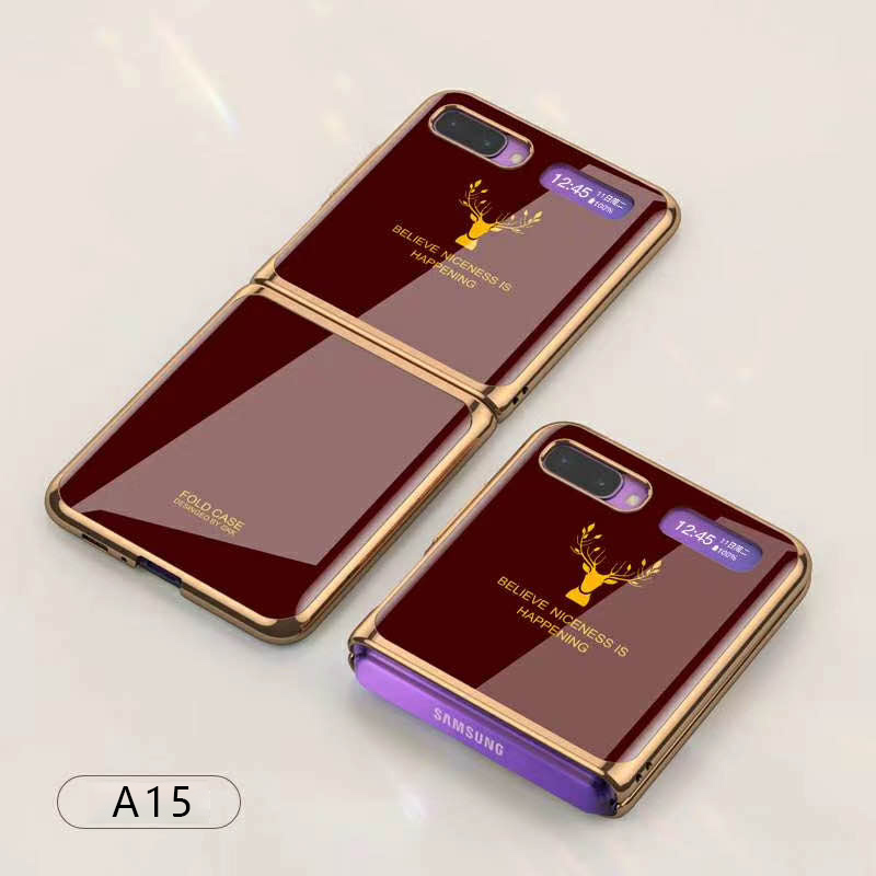 For Samsung Galaxy Z flip Foldable Cellphone Shell Electroplated Painted Folding Phone Case A15 wine red