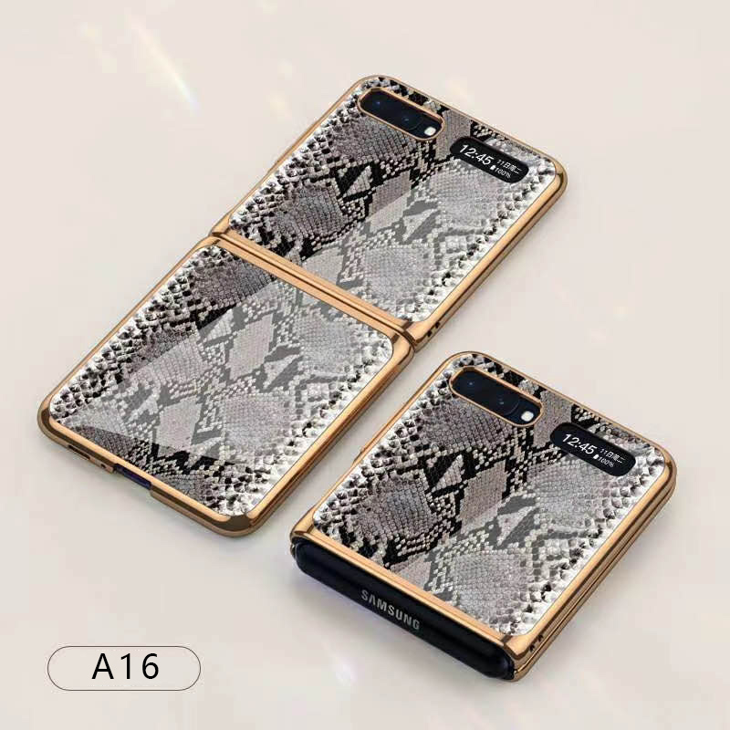 For Samsung Galaxy Z flip Foldable Cellphone Shell Electroplated Painted Folding Phone Case A16 Python pattern