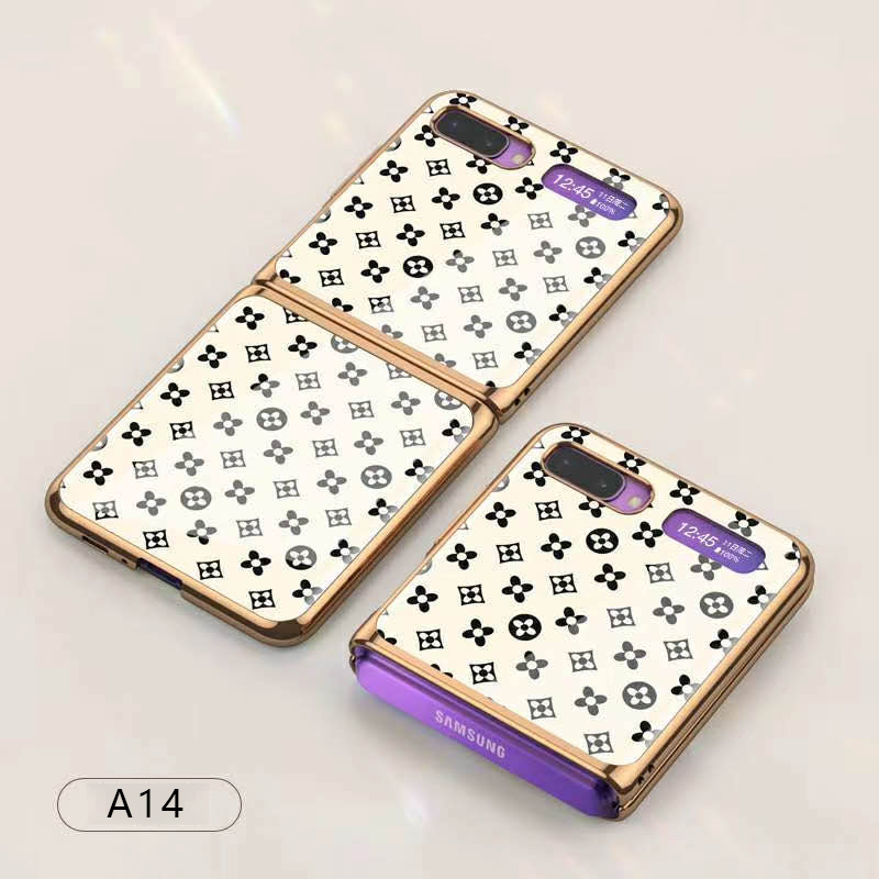 For Samsung Galaxy Z flip Foldable Cellphone Shell Electroplated Painted Folding Phone Case A14 grass white