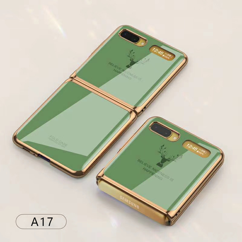For Samsung Galaxy Z flip Foldable Cellphone Shell Electroplated Painted Folding Phone Case A17 Matcha Green