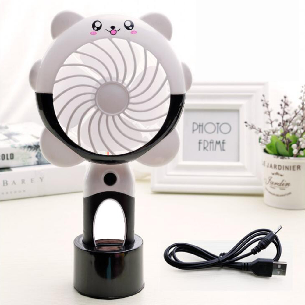 Cartoon Shape Mirror Surface USB Charging Fan with Light Black bear