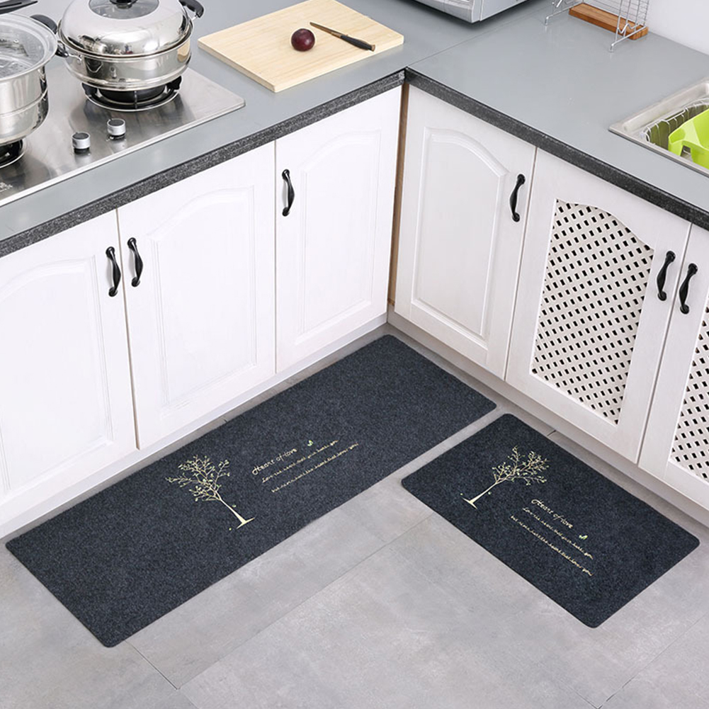 2Pcs Non Slip Water Oil Absorption Mats Carpet for Kitchen 40x60+40x120cm