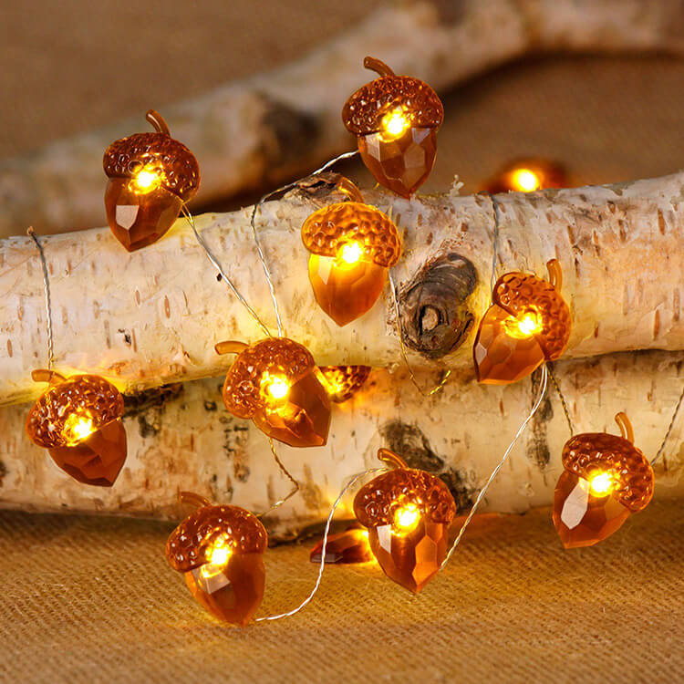 LED Pinecone String Lights 8Functions Copper Wired Lamp for Halloween Christmas