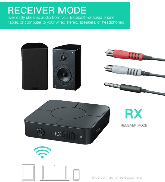 Bluetooth 5.0 Receiver Portable Wireless Audio Transmitter and Receiver black
