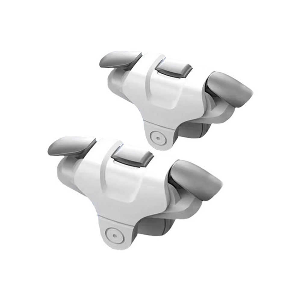 2 Pcs Slotted Design Metal Buttons Left Right Universal Mobile Phone Gamepad Buttons white