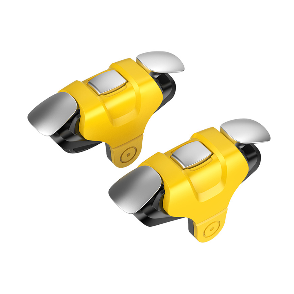 2 Pcs Slotted Design Metal Buttons Left Right Universal Mobile Phone Gamepad Buttons yellow