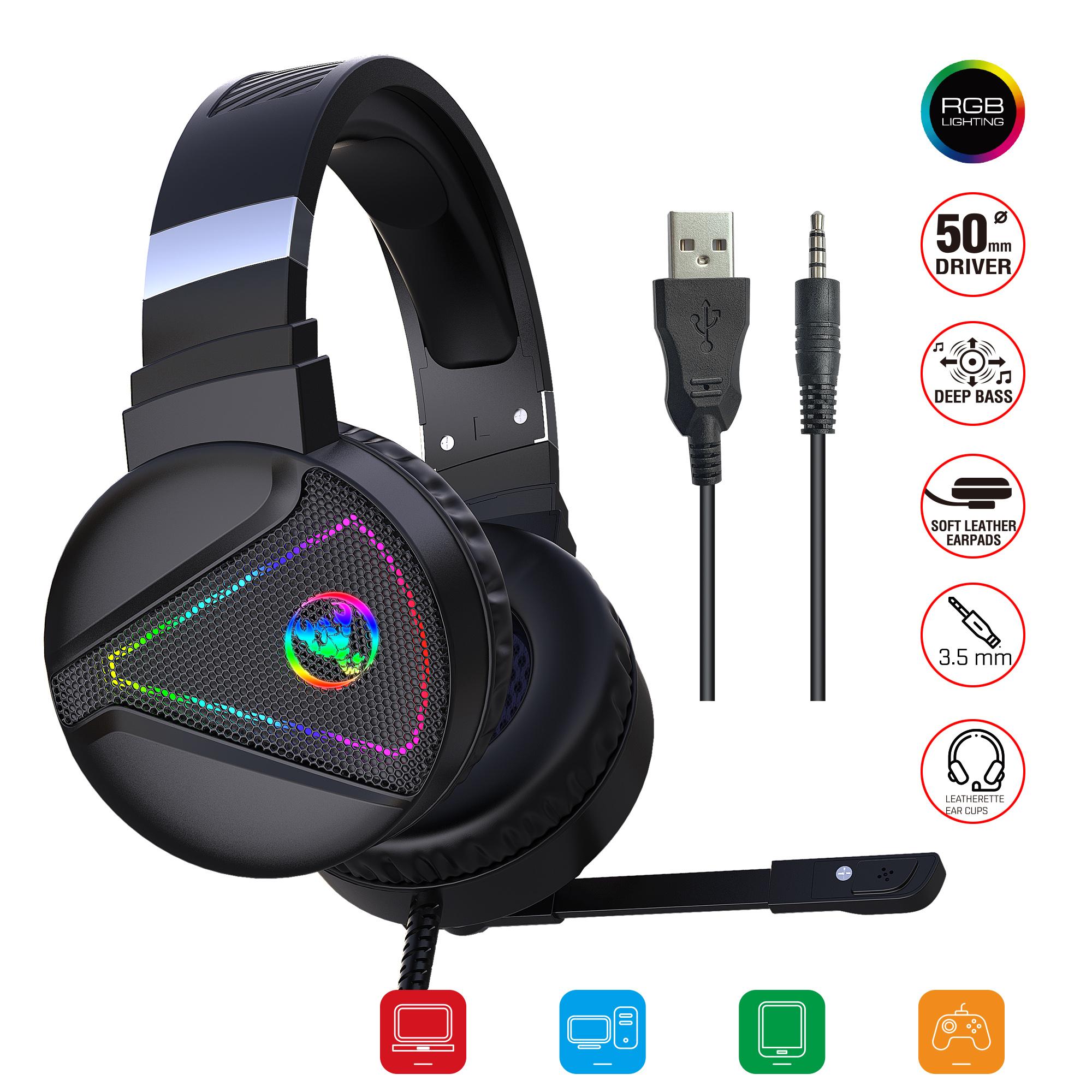 F16 Head-mounted Gaming Headset RGB Luminous Computer Headset Wired Gaming Headset Black