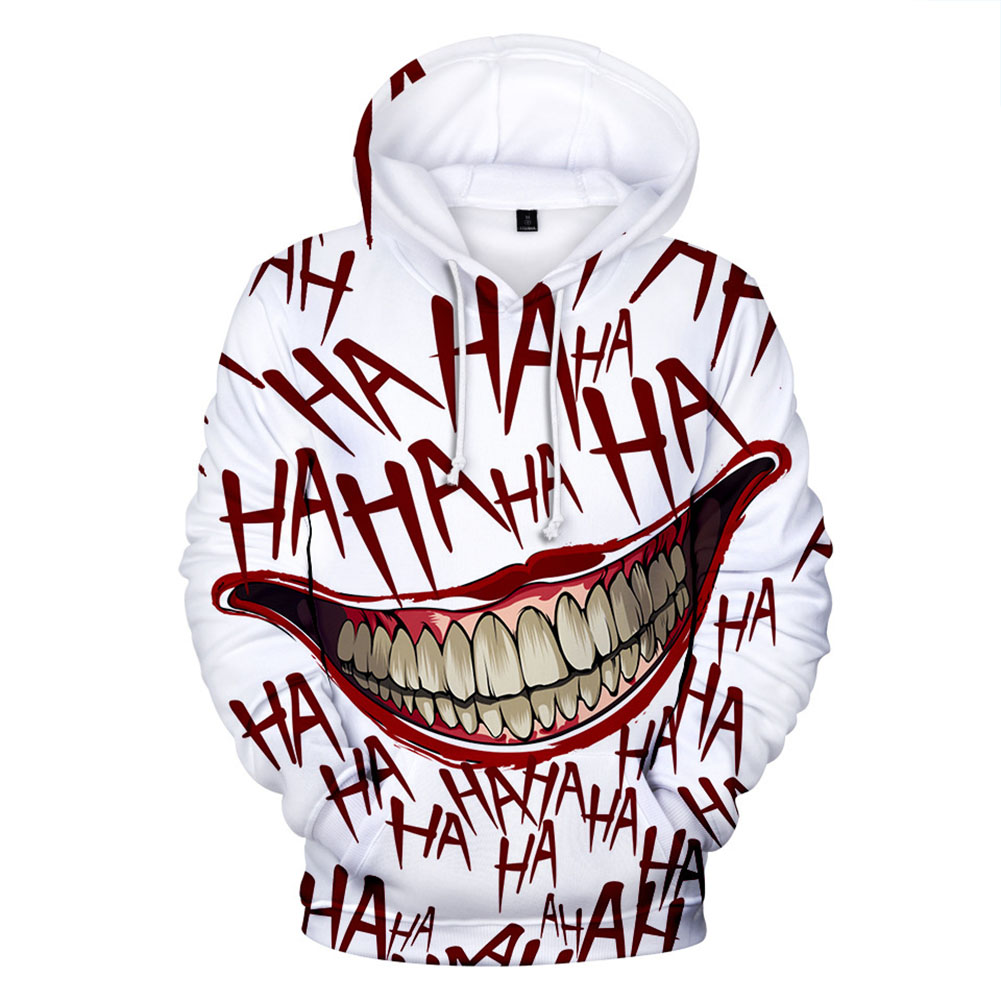 Unisex Clown Joker 3D Printing Hoodie Scary Long Sleeve Hooded Tops Q-1364-YH03 Style F_L